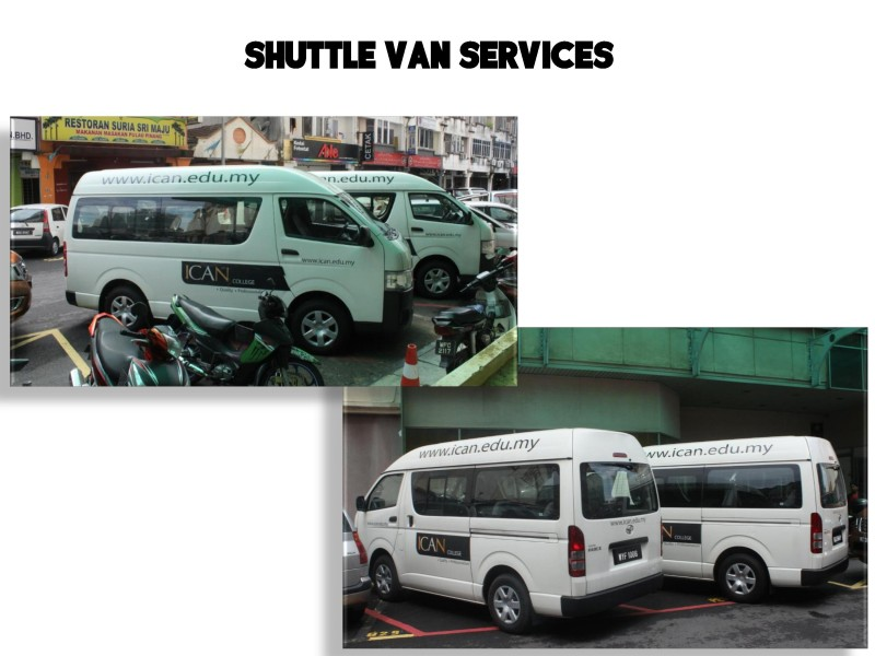 ICAN College offers shuttle van service offers  free shuttle van service during the day for students attending classes.