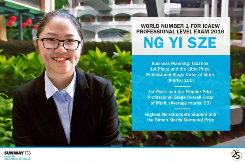 Ng Yi Sze - Top in the World for ICAEW Professional Exam 2018