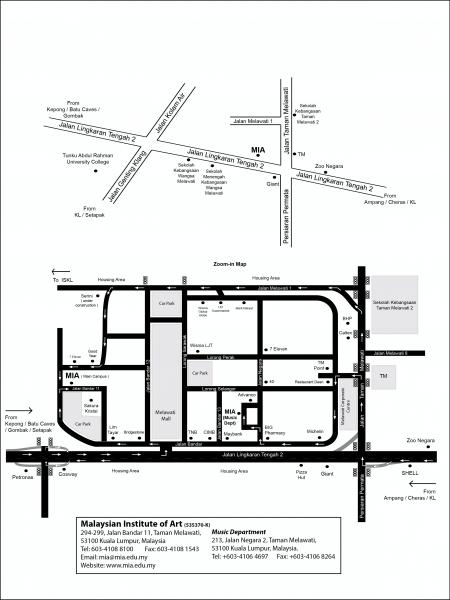 马来西亚艺术学院 (MIA) 的地址及位置图,毗邻新商场 Melawati Mall 商圈,附近有多家银行、店铺林立。国家动物园和拉曼大学学院 (TAR UC) 也近在咫尺。