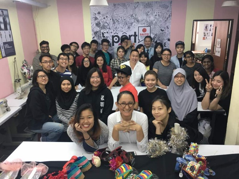 Fashion Design students with lecturer and the local fashion designer- Mr. Bill Keith ( in white)