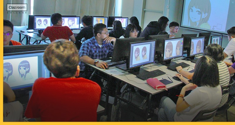 A group of students are using a computer for digital illustration  lessons