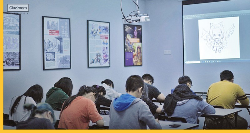A group of students took classes in a wide-open environment