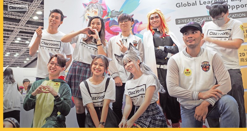 A group of students are happily participating comic fiesta