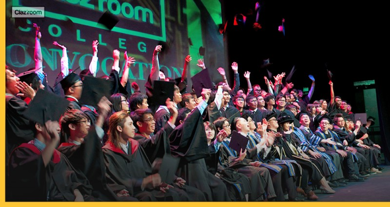 Clazroom Students wore gown for graduation ceremony