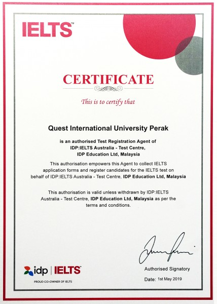 QIU is now declared as an official test centre for the International English Language Test System (IELTS) examinations.