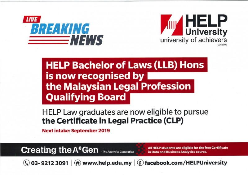 HELP Bachelor of Laws (LLB) Hons is now recognised by the Malaysian Legal Profession Qualifying Board