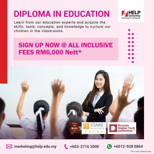 HELP University's Diploma in Education is uniquely designed to take a student into the world of teaching. With our experts in the education field, we are well placed to equip a student with all the skills needed to become a teacher.  At HELP, you will understand the tools and concepts needed to succeed as an educator.  Join our Diploma in Education and make a positive impact on the future generations of children in the classroom.  ✨Sign up now, all inclusive fees @ RM6,000* nett  Intakes are now in progress: ☑ Study Awards Available* ☑ All HELP students will receive a FREE Certificate in Data and Business Analytics  Don't miss this great opportunity to embark into the noble world of teaching.  Register at https://infoday2021.help.edu.my/ or contact us at: https://wa.me/60129280864  📥We are open daily for 1-to-1 online counselling and appointments.  *Terms and Conditions apply