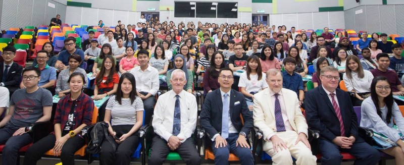 Pre-departure briefing session by CK Chiau (Black blazer and blue tie in the middle front row) in conjunction with the official signing of the brand MyStudyIRL by His Excellency Mr. Eamon Hickey, Ambassador of Ireland (White suit purple tie, middle right front row.)