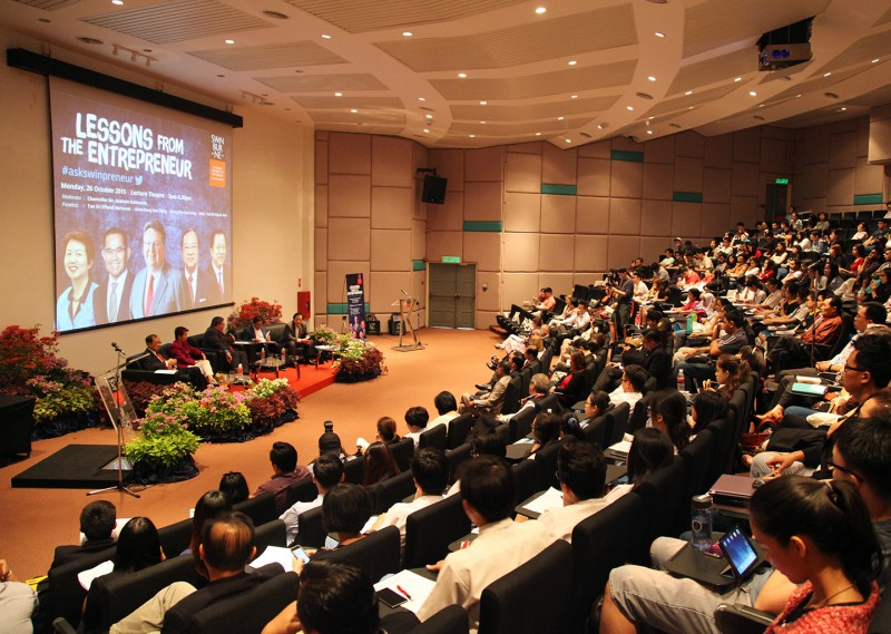 The 350-seat lecture theatre is equipped with the latest audio-visual equipment.